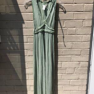 EUC Max Studio Size M Green Striped Maxi Dress